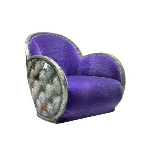 classic armchair / fabric / leather / swivel