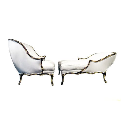 classic armchair / fabric / leather / white