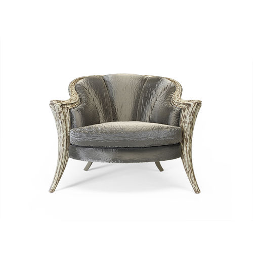 classic armchair / fabric / leather / gray
