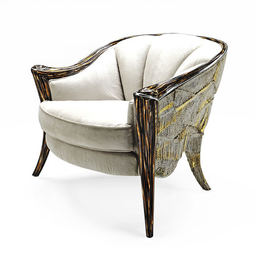classic armchair / fabric / leather / beige