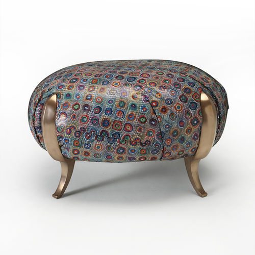 classic pouf / fabric / leather / steel