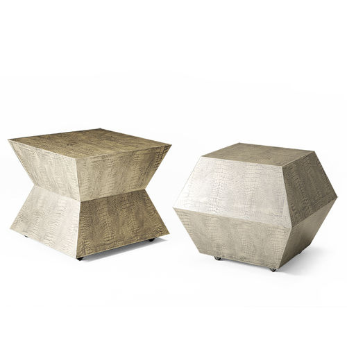 traditional side table / wooden / square / gray