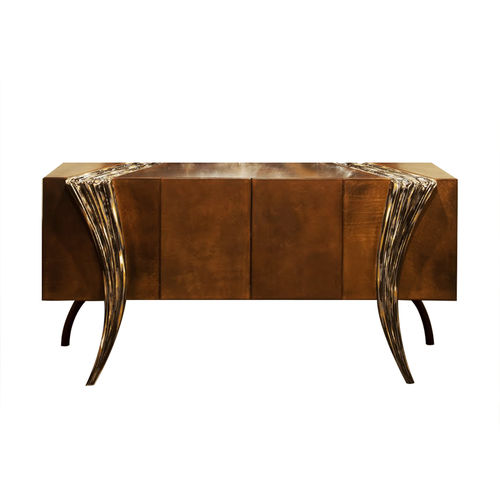 sideboard with long legs / classic / wooden / leather