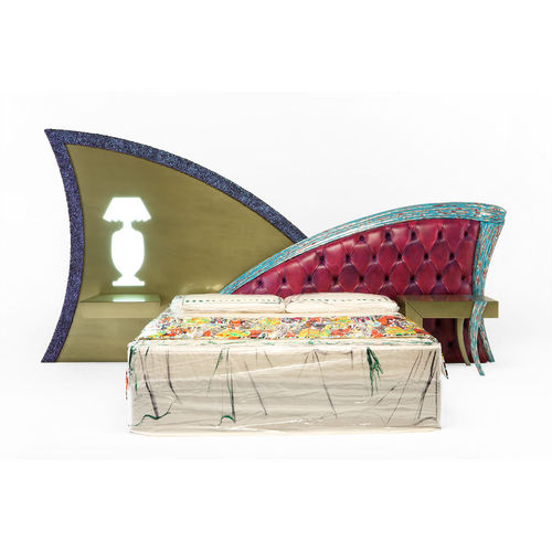 double bed headboard / classic / leather / upholstered