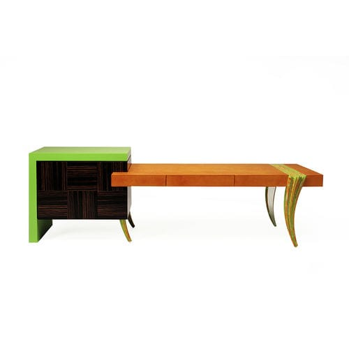 wooden desk / leather / classic