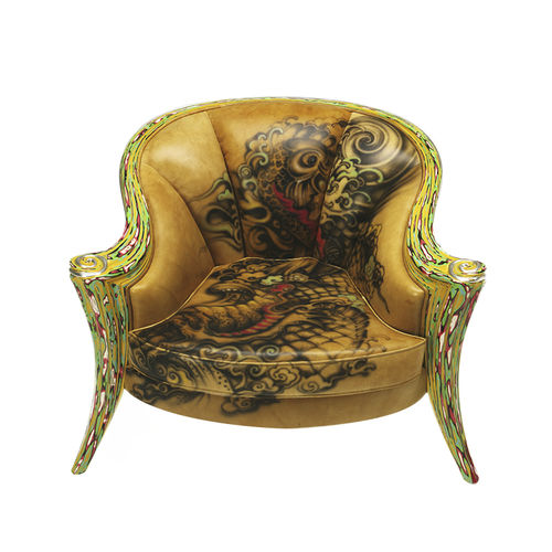 classic armchair / leather / wooden / multi-color