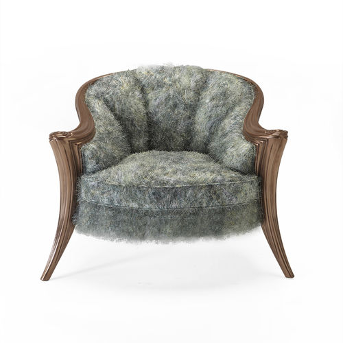 classic armchair / fabric / leather / wooden