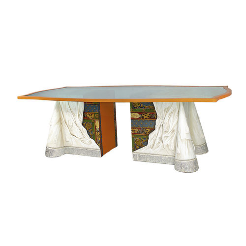 classic dining table / lacquered wood / crystal / rectangular