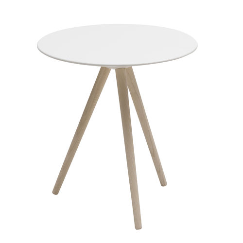 contemporary side table / ash / lacquered MDF / round