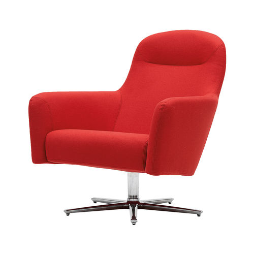 contemporary armchair / fabric / swivel / with removable cover