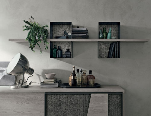 wall-mounted shelf / contemporary / painted metal / laminate