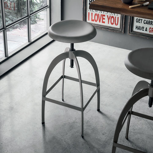 vintage bar stool / painted metal / adjustable-height / gray