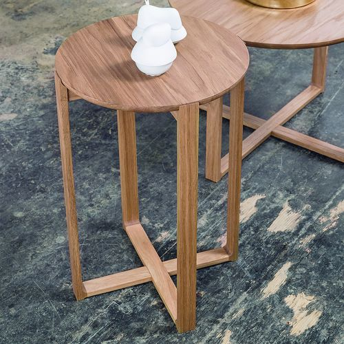 contemporary side table / oak / beech / round