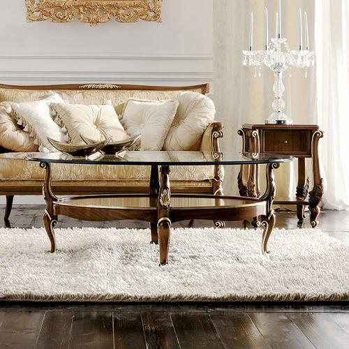 classic coffee table / glass / walnut / oval