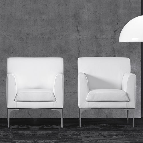 contemporary armchair / leather / white / beige