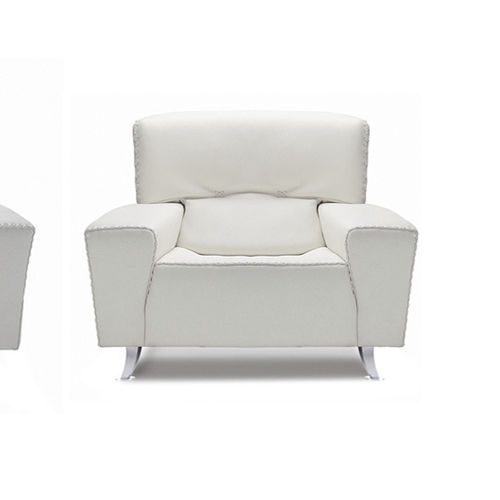 contemporary armchair / leather / white / for public buildings