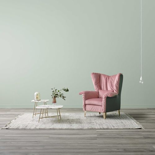 contemporary armchair / fabric / leather / wing