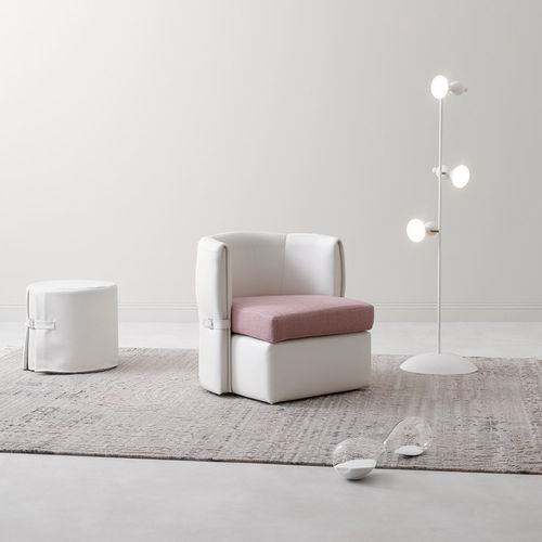 contemporary armchair / fabric / leather / white