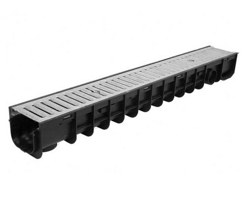 galvanized steel drainage channel / polypropylene / with grating / for public spaces