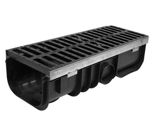 cast iron drainage channel / polypropylene / with grating / for public spaces