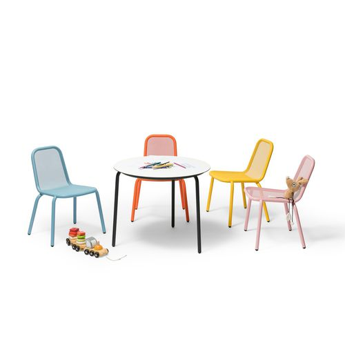 contemporary chair / child's / 100% recyclable / in lacquered stainless steel