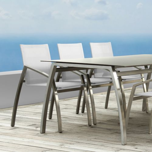 contemporary garden chair / with armrests / stainless steel / Batyline®