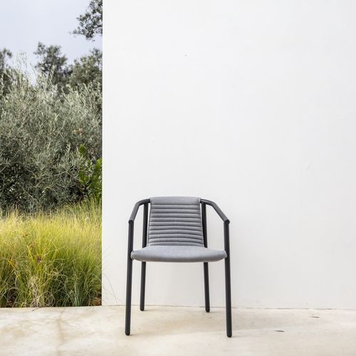 contemporary armchair / fabric / stainless steel / with removable cushion