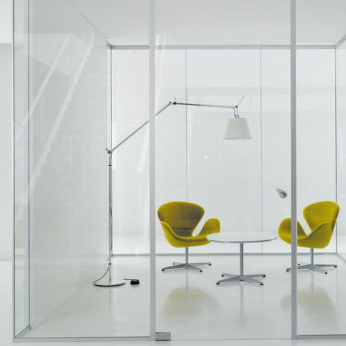 removable partition / glazed / double-glazed / for offices