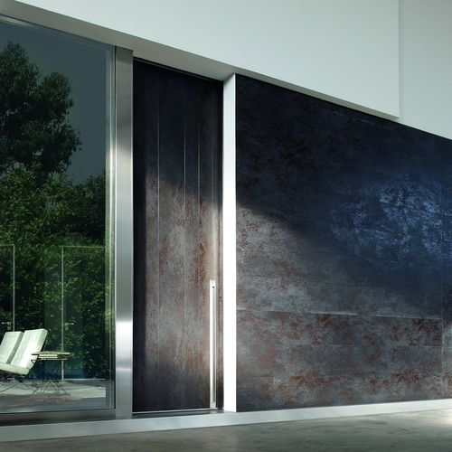 entry door / sliding / wood veneer / metal