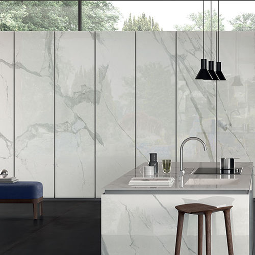 porcelain stoneware stone slab / for floors / for interior / for facade