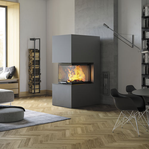 wood-burning fireplace insert / 3-sided