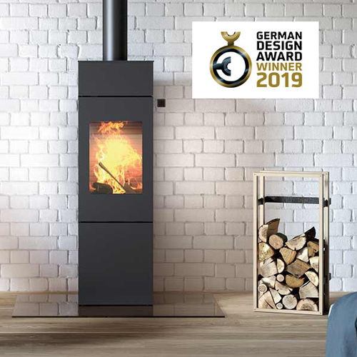 wood heating stove / contemporary / 3-sided / 2-sided