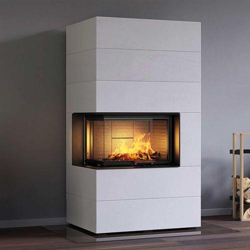 wood-burning fireplace insert / corner