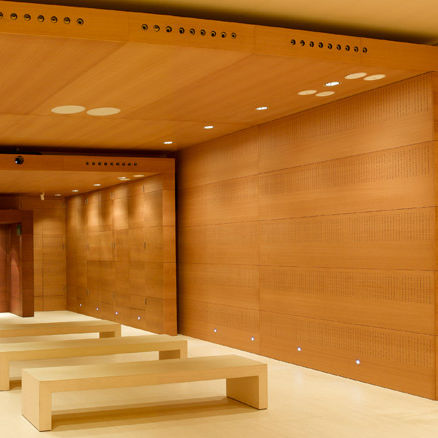 wooden suspended ceiling / panel / acoustic / flame-retardant