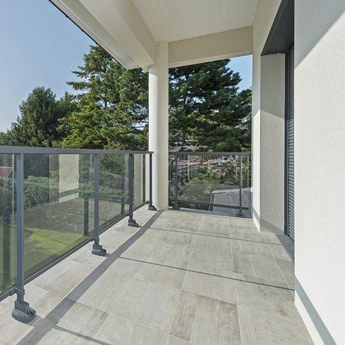 aluminum railing / glass panel / with bars / perforated sheet metal