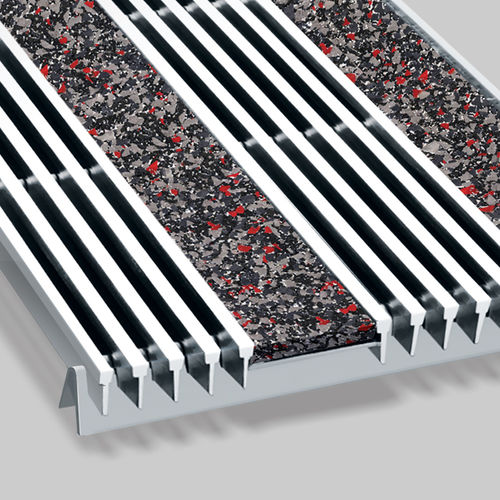 commercial entrance mat / recycled rubber / stainless steel / with profiles