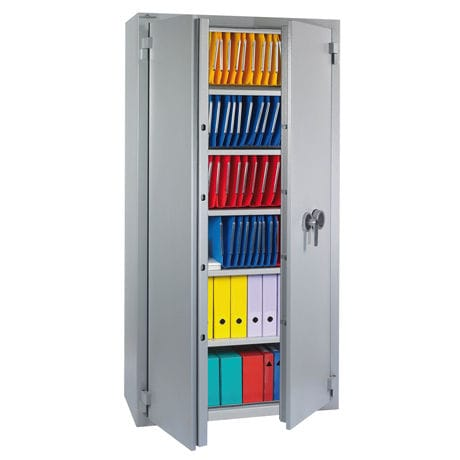 tall filing cabinet / sheet metal / with hinged door / contemporary
