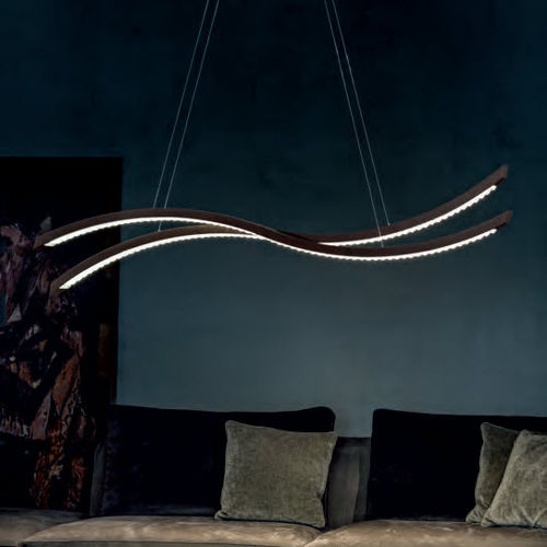 pendant lamp / original design / metal / crystal