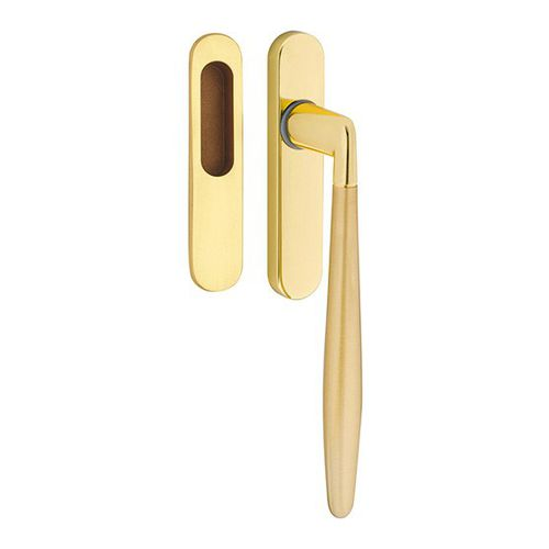 sliding door pull handle / chrome-plated brass / polished brass / contemporary