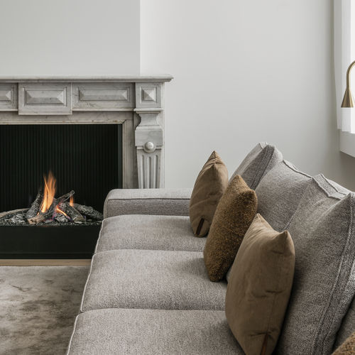 gas fireplace / classic / open hearth / built-in
