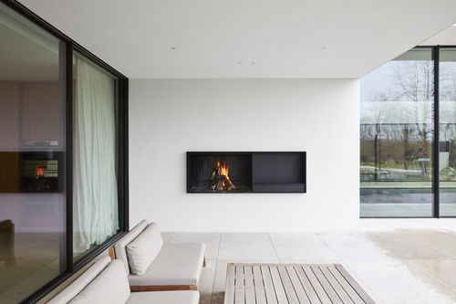 wood-burning fireplace / contemporary / open hearth / built-in
