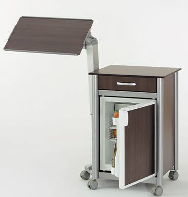 contemporary bedside table / wooden / square / for healthcare facilities
