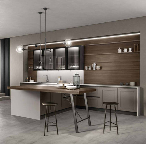 contemporary kitchen / solid wood / stone / hidden