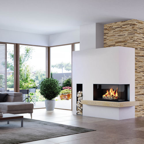 wood-burning fireplace / contemporary / closed hearth / corner