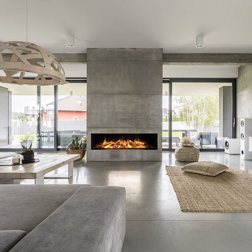 electric fireplace / contemporary / open hearth / built-in