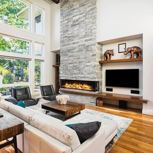 electric fireplace / contemporary / open hearth / 3-sided