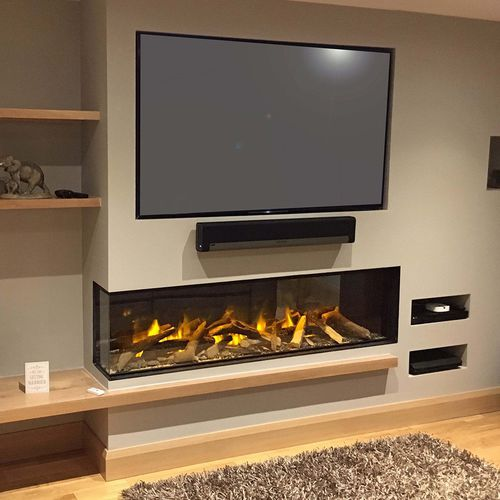 electric fireplace / contemporary / open hearth / corner