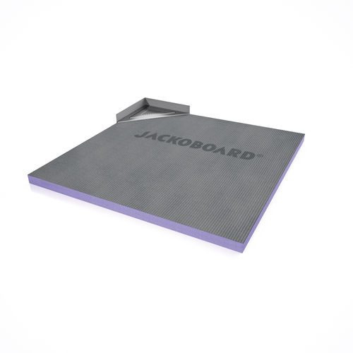 square shower base / ready-to-tile / extruded polystyrene / brushed stainless steel