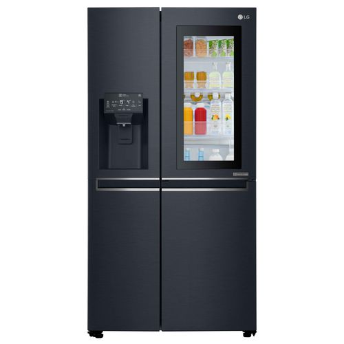 commercial refrigerator-freezer / double door / black / internal freezer compartment