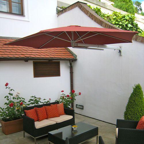wall-mounted patio umbrella / commercial / aluminum / polyolefin